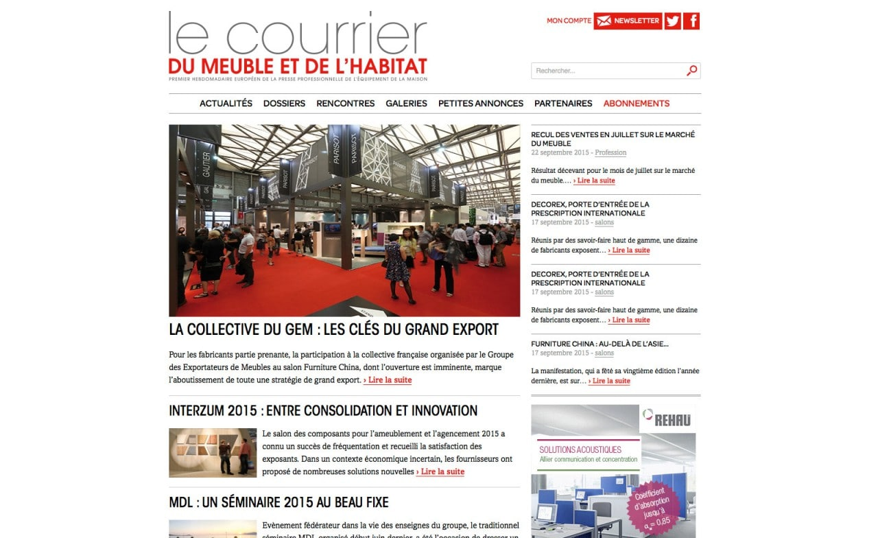 site web responsive courrier du meuble
