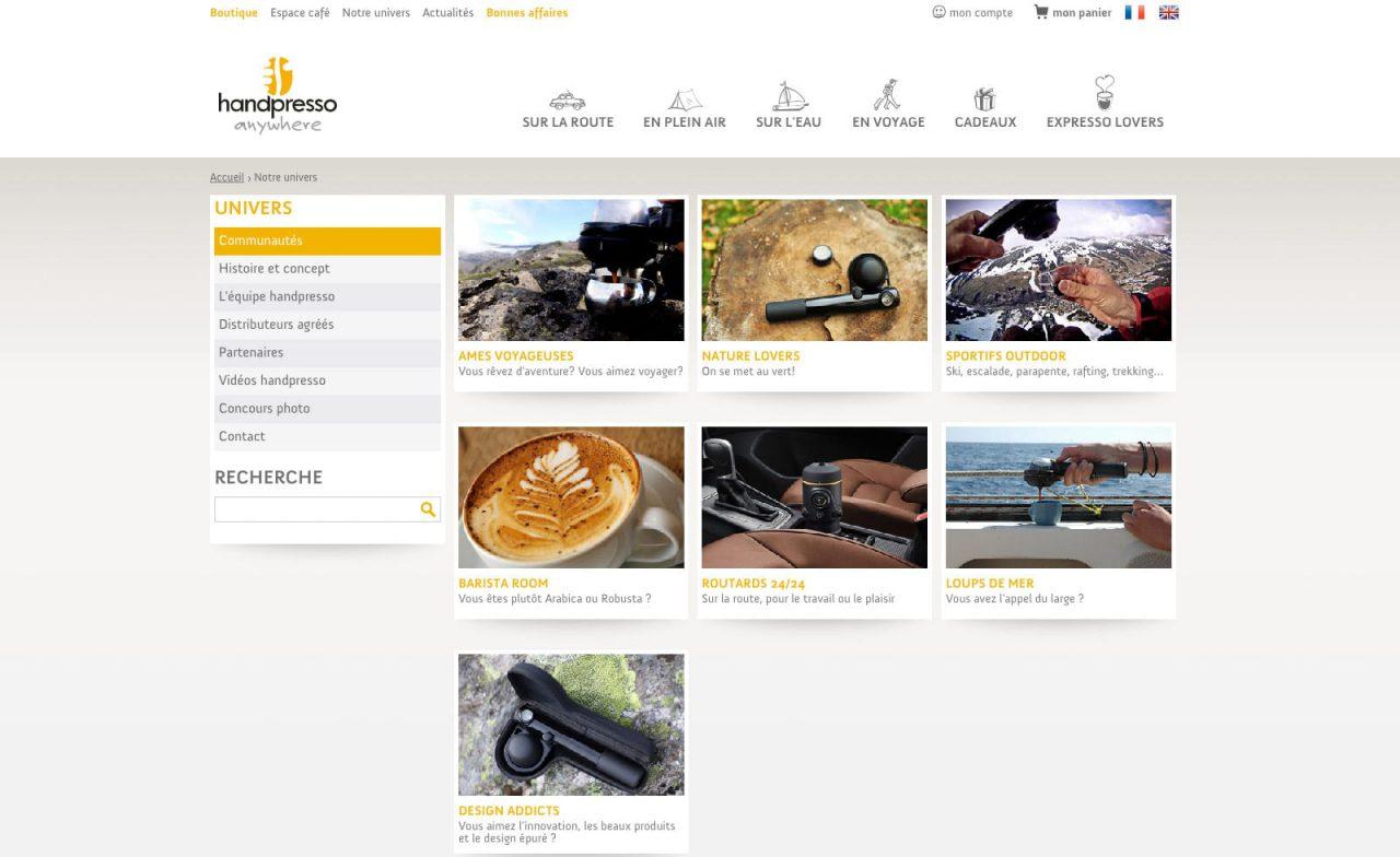 site web responsive handpresso