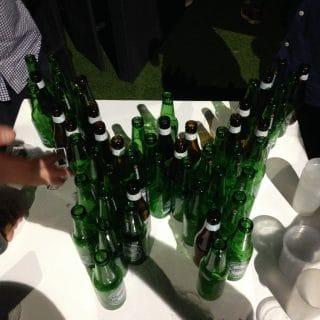 Wordpress logo made with beer bottles