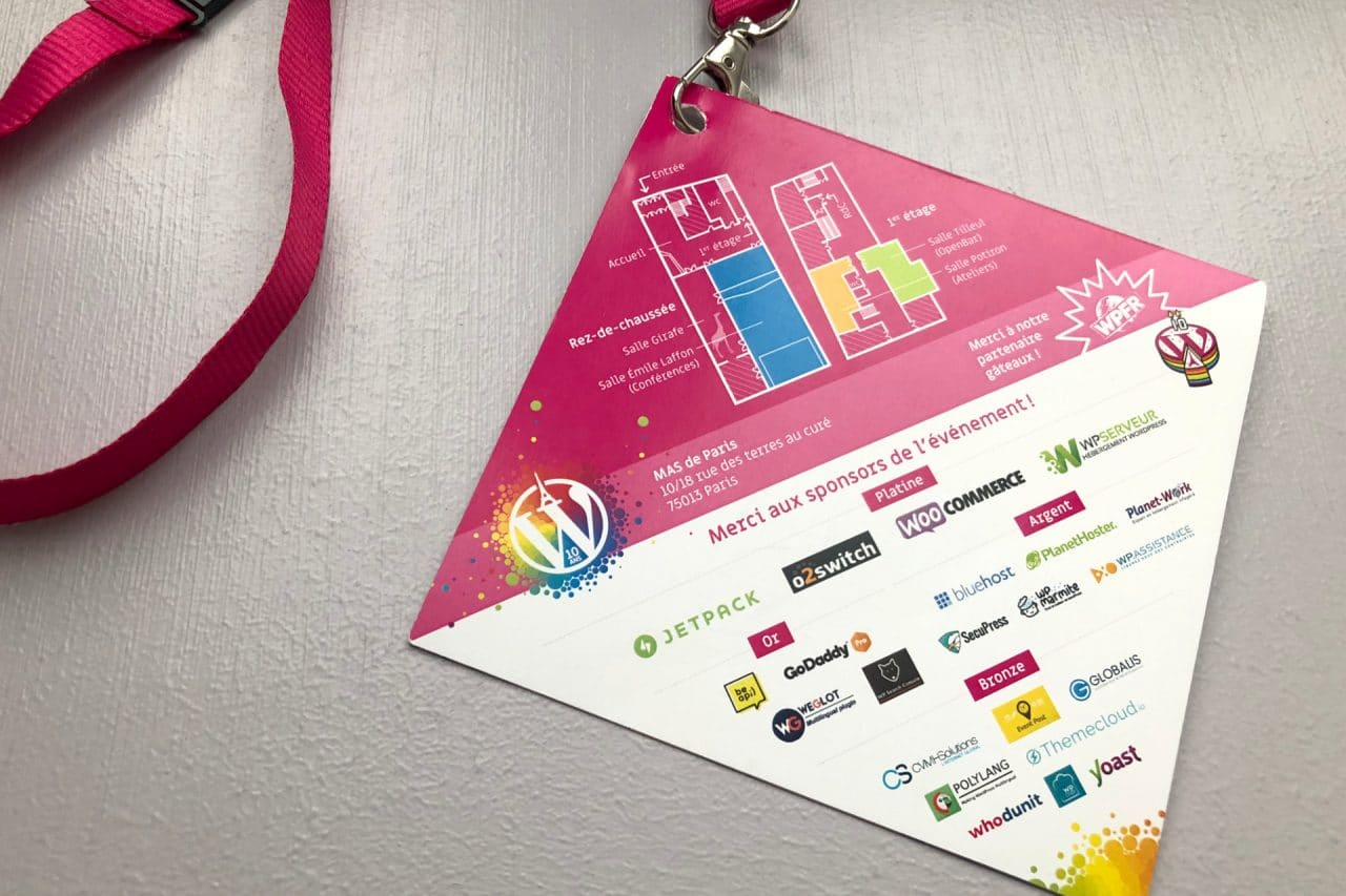 badge/programme wordcamp paris 2018