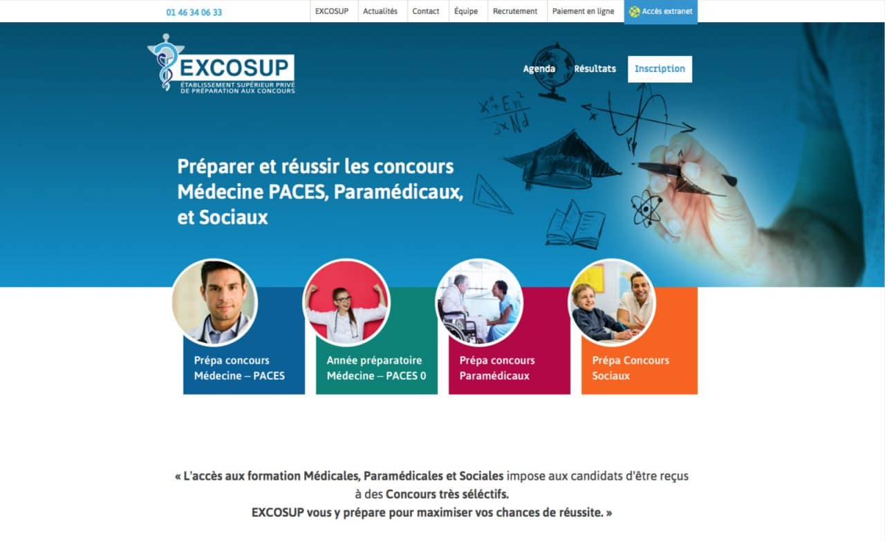 excosup site web page d'accueil